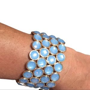 NEW Bold Faceted Blue Gold Bracelet Jewerly